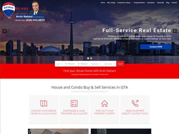 Arvin Nahani Real Estate Website Design