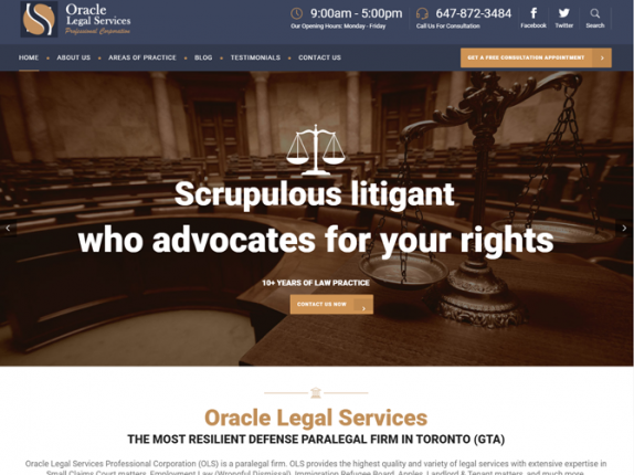 Orcale Legal Services Website Design